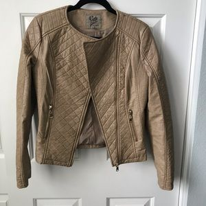 Tan Faux Leather lined jacket.